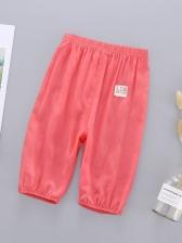 Solid Color Letter Patch Unisex Baby Cotton Pants