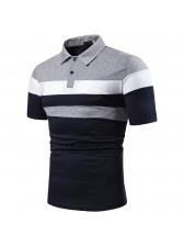 Striped Contrast Color Turndown Collar Shirt