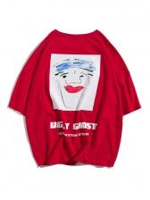 Hip-Hop Crew Colllar Half Sleeve Print T-shirt