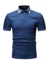 Threaded Turndown Collar Casual T-shirt