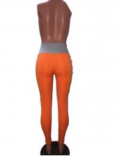 Contrast Color High Waist Pencil Pants For Women