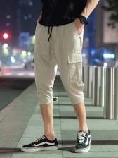 Casual Solid Color Drawstring Three Quarter Pants