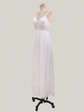 Sexy V Neck Backless White Chiffon Maxi Dress