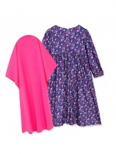 Contrast Color Floral Muslim Girl Dress With Headscarf