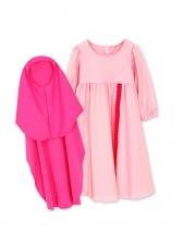 Lace Stitching Muslim Girl Blush Dress With Headscarf