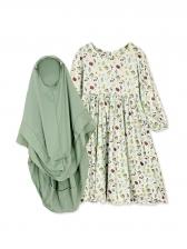 Muslim Fruit Print Girl Maxi Dress With Headscarf