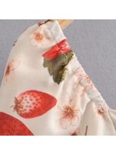 Chic Strawberry Printed Women Blouse Design