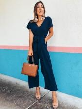 V-neck Tie Wrap Wide Leg Jumpsuit For Women