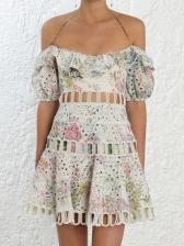 Boutique Hollow-Out Print Halter Short Dress