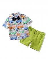 Cartoon Car Binding Bow Patchwork Boys Outfits