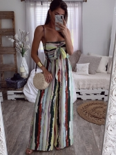 Strapless Binding Multicolored Stripes Women Jumpsuit