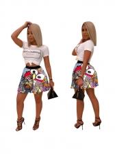 Hot Sale Cartoon Printed Pleated Short Skirt