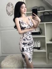 Deep V Neck Printed Split Sleeveless Dress