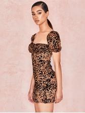 Sexy Low-Cut Leopard Tie-Wrap Fitted Dress