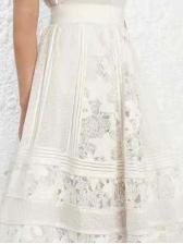 V Neck Venise Lace Lantern Sleeve Maxi Dress