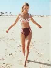 Stylish Agaric Laces Floral Ladies Swimwear