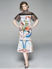 Stand Collar Lace Panel Print Fishtail Dress