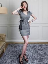 Sexy V Neck Plaid Short Sleeve Bodycon Dress