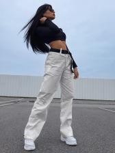 Euro Chain Decor Cargo Pants For Women