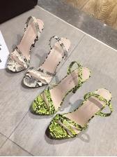 Stylish Snake Printed High Heel Sandals
