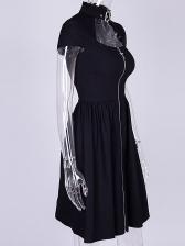 European Style Cross Zipper Turtle Neck Black Dress