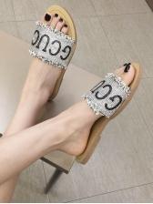 Matching Letter Rhinestone Slip On Slippers