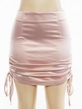 Euro Drawstring High Waisted Short Skirt