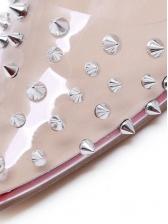 Chic PVC Rivet Patchwork Slip On Heels