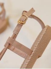 Matching Metal Splicing Roman Flat Sandals
