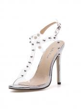 Stylish Rivet PVC Ankle Strap Heels