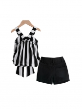 Striped Bow Girl 2 Pieces Shorts Set
