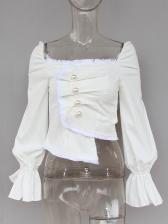 Square Neck Flare Sleeve Draped Ladies Blouse
