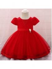 Pearl Gauze Stitching Girls Big Swing Dress