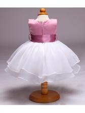 Studded Binding Bow Baby Girl Gauze Dresses