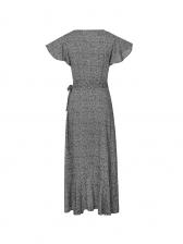 Hot Sale V Neck Ruffle Printed Midi Dress