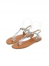 Roman Style Snake Printed Thong Flat Sandals