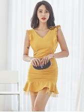 Stylish V Neck Ruffles Sleeveless Fitted Dress
