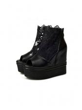 Gauze Patchwork Zipper Ankle Platform Wedge Sandals