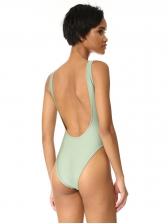 Low-Cut Backless Letter Light Green Swimsuit