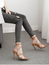 Roman Style Pointed Brown Lace Up Sandals