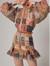 Vintage Printed Lantern Sleeve Ruffle Dress