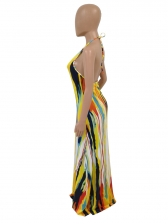 Sexy Backless Halter Tie Dye Maxi Dress