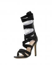 Sexy Solid Cross Strap Zipper Roman Sandals