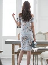 Elegant Flower Split Off Shoulder Dress For Women