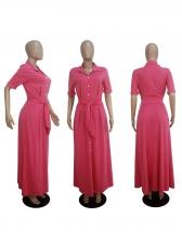 Hot Sale Solid Color Tie-Wrap Maxi Dress