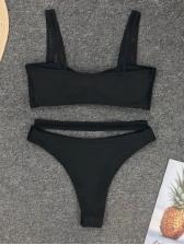 Euro Bow Decor Black Womens Bikini Sets