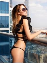 Gauze Patchwork Cross Belt Bikini For Women