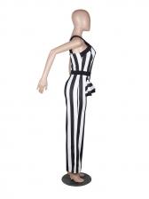 Off Shoulder Fitted Striped Wide Leg Jumpsuit