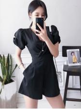 Korean Design Sexy V Collar Black Rompers