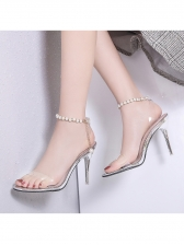 Sexy Beading PVC Clear Sandals